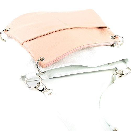 modamoda de -. cuoio ital Borsa da donna Messenger bag borsa a tracolla in pelle borsa NT07 2in1 Weiß/Rosa