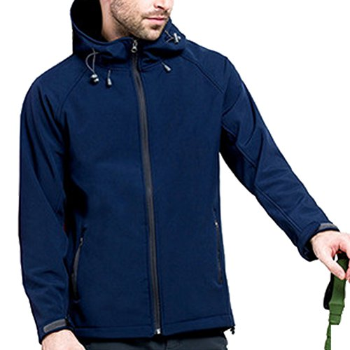 Zhhlaixing Winter Outdoor Men soft Shell Loisir Hooded Coat Windproof Windbreaker Navy blue