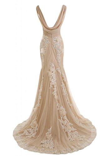 Sunvary Romantisch Neu Lang Blumen Spitze Mermaid Traeger Abendkleid Ballkleider Champagner