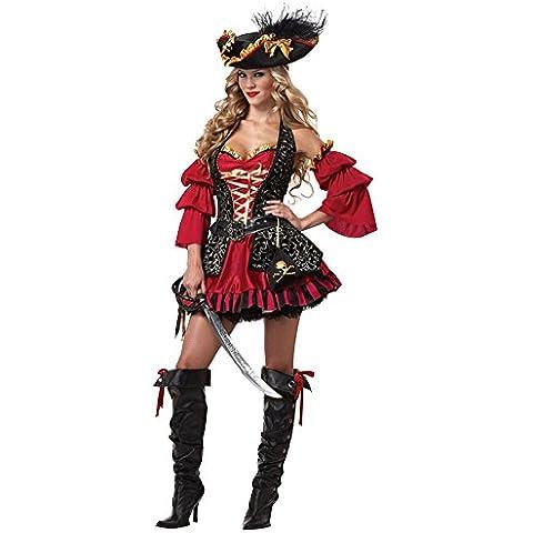 LaoZan Mujer Traje de Pirata gótico Disfraz de Halloween Vestido de lujo para cosplay M Rojo