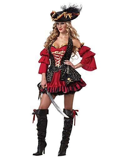 Imagen de laozan mujer traje de pirata gótico disfraz de halloween vestido de lujo para cosplay m rojo