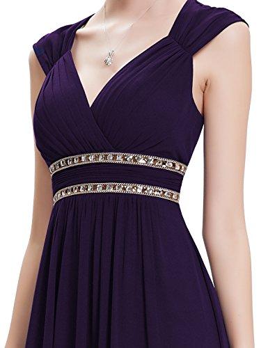 Ever Pretty Damen Elegant V-Ausschnitt Ärmellos Lang Abendkleid 08697 Violett