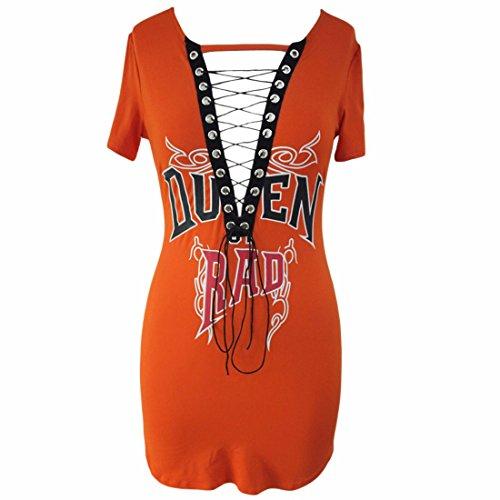 QIYUN.Z Mode Féminine Criss Cross Deep V-Neck Manches Courtes Décontractées T-Shirts Robe Orange