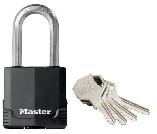 Master Lock Rostfreies Hochsicherheits-Vorhängeschloss Excell für den Außenbereich mit langem Bügel, Schlüsselschloss, Körper aus Stahllamellen, 48 mm