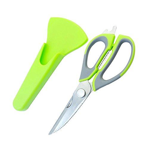 Auswechselbare Grill (AOLVO Küche Schere, Multifunktions Mini Küche Schere mit Soft Griff, Eigenschaften Nussknacker, Dosenöffner, magnetisch Funktion, Papier Clip Walnuss (grün))