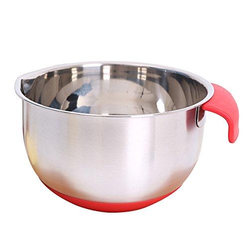 Bol de mélange avec bec verseur et poignées, bol en métal pour la cuisson et la cuisine 24 cm Voir image