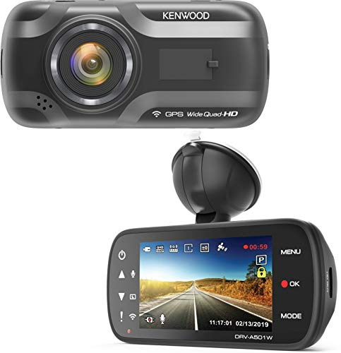 Kenwood DRV-A501W Wide Quad HD Dash Cam with 3 Axis G-Sensor, GPS and WiFi + 16GB Micro SD Card Logo