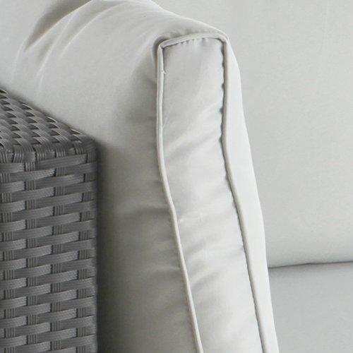 Ecksofa für bis zu 2 Personen aus Polyrattan Gartenmöbel inkl. Sitzkissen -Farbwahl- schwarz, grau oder braun - 4