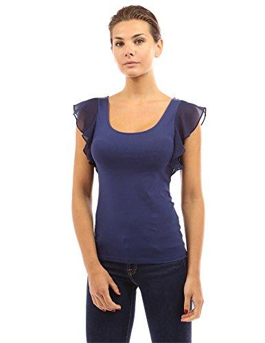 PattyBoutik Damen Rundhalsausschnitt Bluse mit Spitze und Rüsche (Marineblau 36/S) -