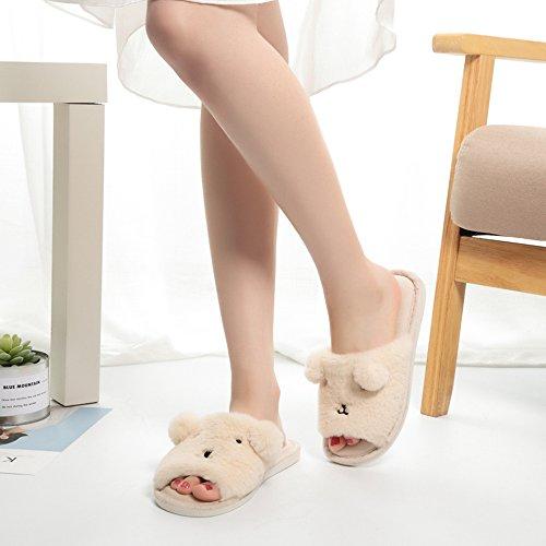 TININNA Bequeme Hause Hausschuhe Weiche Nette Cartoon Bär rutschfeste frauen Hausschuhe Baumwolle Schuhe Hausschuhe Pantoffel Slipper für Vier Jahreszeiten Rosa