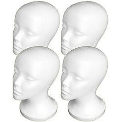 4PCs A1Pacific 11 STYROFOAM FOAM MANNEQUIN MANIKIN head wig display hat glasses