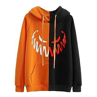 LSAltd Hoodie-Frauen-Halloween-Schädel-Gesichts-Druck-Art- und Weisehoodie-Sweatshirt-Jacke beiläufige Farben-Patchwork-Lange Hülsen-Pullover-Oberseiten mit Tasche