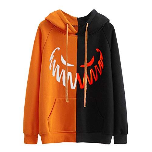 GOKOMO Halloween KostüM Damen Kapuzen Pullover Langarm Mit ReißVerschluss Pullover Damen Rundhals Oversize Halloween Grimassen Drucken(Orange-b,Small) (Snoopy Kostüm Kind)