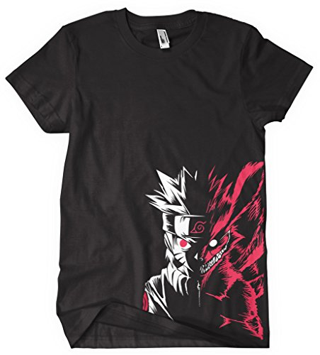 T-shirt Sushiroll Naruto Shippuden Manga Dessin animé Cartoon Naruto _Moitié_Renard_Centre_ Couleur noir - Noir - Large