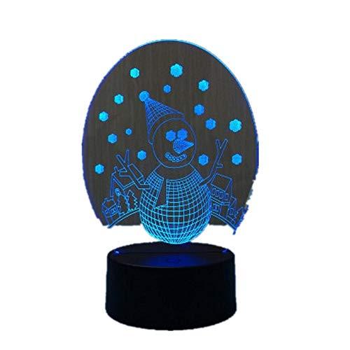 2019 Navidad 3D LED Luz de noche Interruptor táctil Lámpara de mesa USB 7 Color Decoración de habitación Iluminación LED colorida para regaloControl táctil / 2