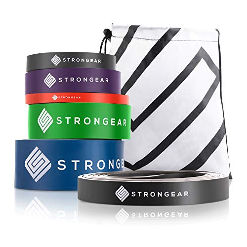 STRONGEAR® Premium Fitnessband mit Tasche und Trainingsanleitung PDF - Gymnastikband, Theraband, Loop Resistance Bands, Widerstandsbänder Krafttraining, Trainingsband, Widerstandsband, Terrabänder Set