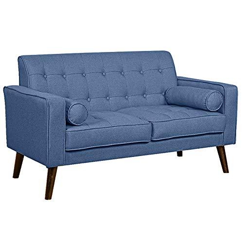 Bakaji divano 2 posti in tessuto di lino trapuntato imbottito con schiuma ad alta densità struttura in legno masselo piedini in legno dimensione 141 x 75 x 81 cm (blu)