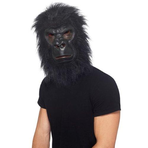 Adults Fancy Party Theme Kids School Book Day Animals Dress Gorilla Mask, Black