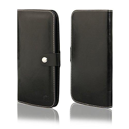 MOELECTRONIX HQ Buch Tasche SCHWARZ Klapp Schutz Hülle Wallet Flip Case Etui für Oukitel C2