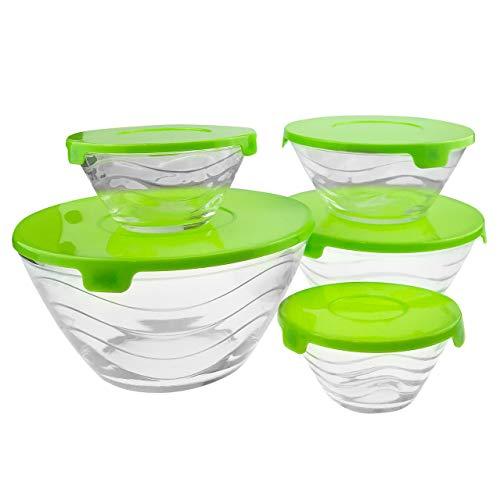 10-tlg. Glas Schüssel SET mit Deckel – 17 x 8,5/14 x 6,5/12,5 x 6/10,5 x 5/9 x 4,5 cm (ØxH) – grün