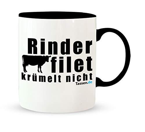 Tasse mit Spruch - Rinderfilet krümelt nicht - Lustige Kaffetasse – Kaffee-Becher – Teetasse -...