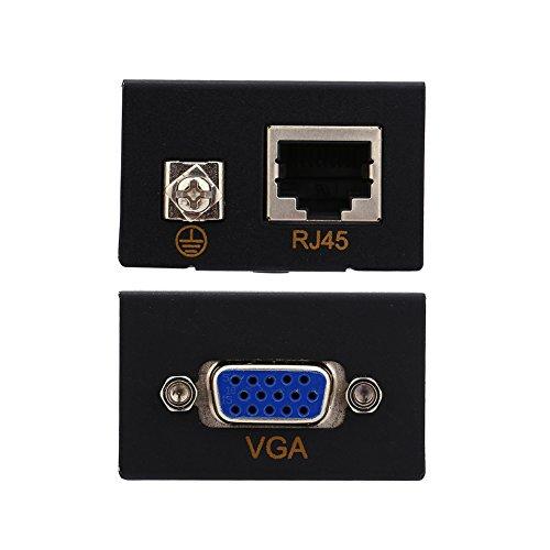 VGA-Extender - 60 m (196 ft) - Kleines RJ45 Extender Sender Empfänger-CAT-5/6-Ethernet-Kabel -