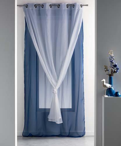 Douceur d'intérieur  - 1623197, tendaggio con occhielli , 140 x 260 cm , voile double uni , doppio velo unito , blu/bianco
