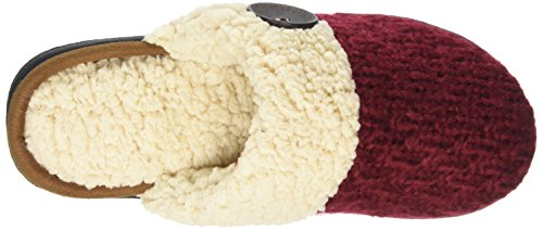 Dearfoams - Textured Knit Closed Toe Scuff, Retro aperto Donna Turquoise (Cabernet)