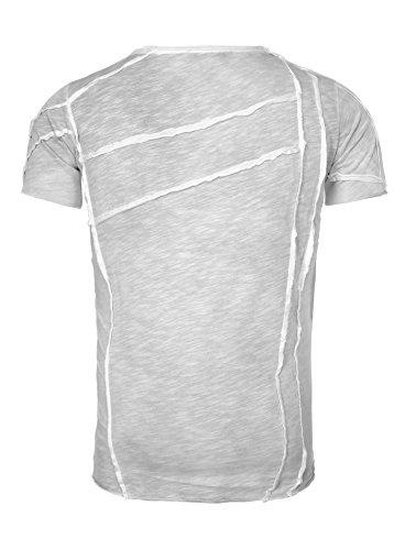Redbridge Herren T-Shirt LANDSCAPE mit Außennähte und Löchern Falten Grau