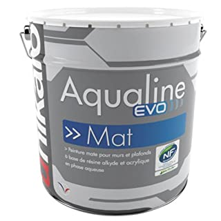 Aqualine Mat Evo – 0.75L – Matt White Paint Wall and Ceiling – Indoor/Outdoor – Acrylic – Washable.
