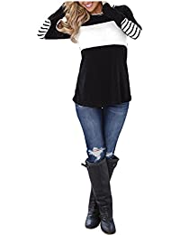 Blooming Jelly Womens Long Sleeve Top Striped Elbow Patchwork T Shirt  Casual Crew Neck Jumper for cc6ac1c29