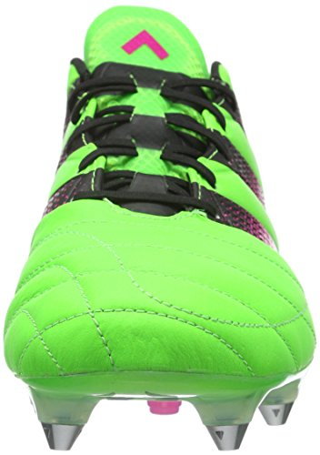 adidas Ace 16.1 Sg Leather, Chaussures de Running Entrainement Homme, Vert Fluo/Rose Flash/Noir Grün (Solar Green/Shock Pink/Core Black)