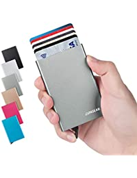 LunGear Credit Card Holder with RFID Blocking Aluminum Metal Pop Up Card Case