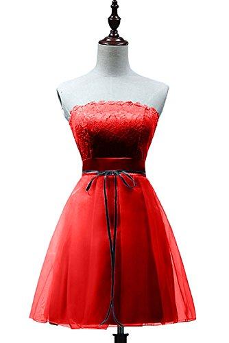Missdressy Einfach A-Linie Kurz Traegerlos Chiffon Satin Spitze Abschlusskleider Partykleider Brautjungfernkleider Rot