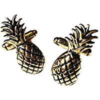 Mixed Up Dolly Vintage Pineapple Cufflinks - Antique Gold Tone T-bar