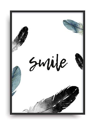 Schlafzimmer-art-print (Kunstdruck SMILE Fine Art Poster Print Plakat moderne Vintage Deko Bild ohne Rahmen DIN A4 Geschenk)