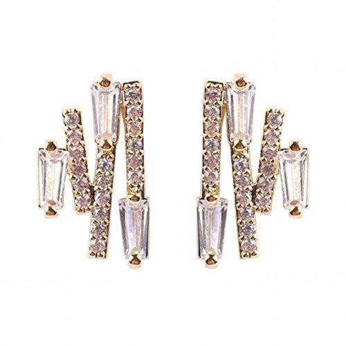 WOZUIMEI Ohrring Ohrhänger Ohrstecker Ohrstecker Sommer Micro-Verschönert Elektrische Gewellte Exquisite Kupfer Ohrringe Ohrringe für Frauen, 14 Karat Gold plattiert