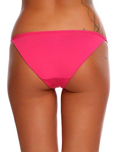 ADOME Damen Sexy String Hüftiger Slips Bikinislip Tanga Low Schnitt Unterhose Hüftslip 3er pack Rosa950