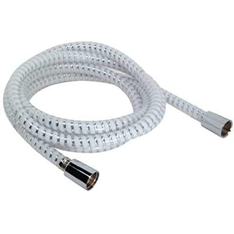 DELTA FAUCET CO 96-Inch Chrome & White Replacement Shower Hose