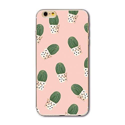 Coque iPhone 6/6S Housse étui-Case Transparent Liquid Crystal en TPU Silicone Clair,Protection Ultra Mince Premium,Coque Prime pour iPhone 6/6S-Géométrique Cactus