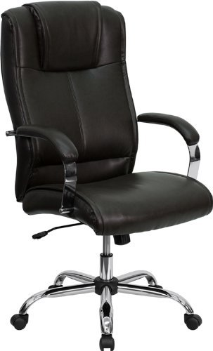 lincoln-high-expresso-brown-leather-executive-office-chair-raised-headrest-chrome-finnish-by-mercury