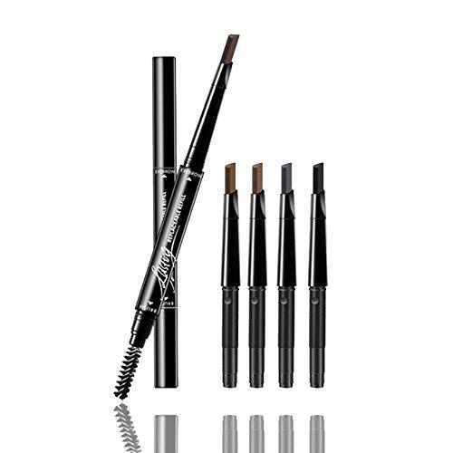 Lápiz de cejas waterproof con cepillo de peine para cejas, lápiz de cejas retráctil automático Color Maquillaje Cosmético Herramienta Negro gris marrón