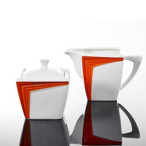 Malacasa, serie Rebeca, Arancione 3PEZZI IN PORCELLANA, Bianco Avorio Cina Ceramica Bianco Panna Set Da Tavola Con-1-Set Zuccheriera e bricco per latte (2pezzi con coperchio)