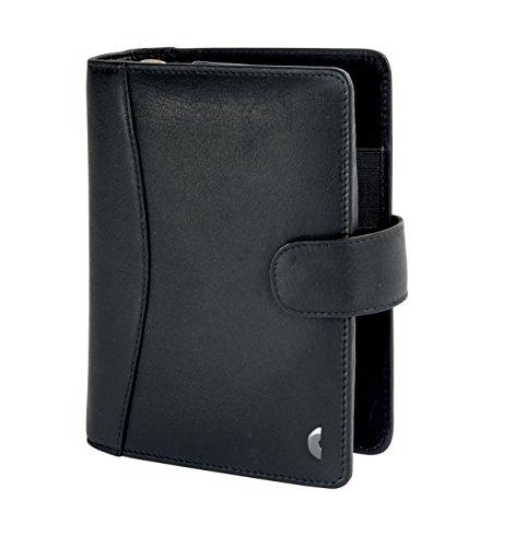 Chronoplan 50174 Organizer Vollrindleder (Terminplaner Midi mit Lasche) Ringbuch schwarz