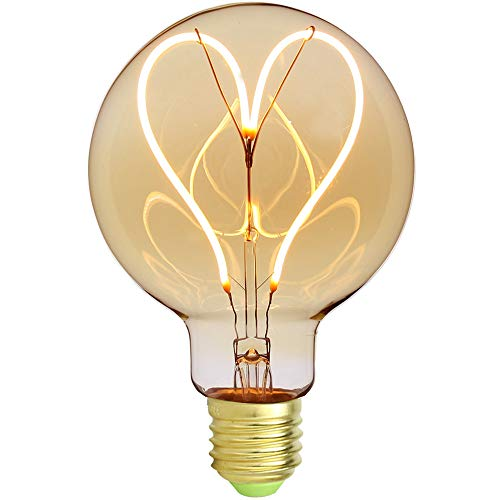 Edison Classic G95 4W Dimmbare weiche LED Glühfaden Herz Design 220 / 240V E27 Vintage Glühbirne (bernsteinfarben) [Energieklasse A ++]