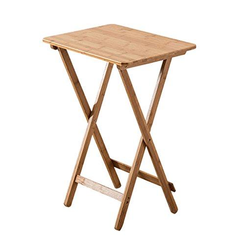 Tables de pique-nique Pur bambou pliant table carrée simple portable petite table table d'ordinateur portable en plein air table à manger en bois massif (Size : 50 * 36 * 68cm)