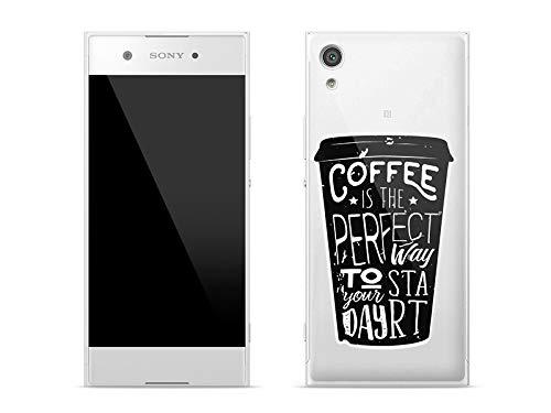 etuo Sony Xperia XA1 - Hülle Crystal Design - Kaffee - Handyhülle Schutzhülle Etui Case Cover Tasche für Handy