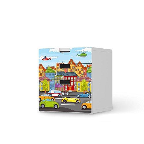 Möbel-Tattoo für IKEA Stuva Kommode - 3 Schubladen (Kombination 1)   Dekoaufkleber Jugendzimmer Accessoires   Ideen für IKEA Möbelfolie Kinder-Zimmer Innendeko   Kids Kinder City Life