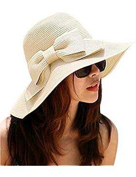 f-eshion moda mujeres Girls Wide Brim Floppy sombrero con lazo de verano playa sol sombrero–Beige