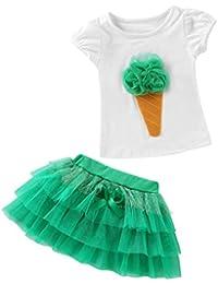 QUICKLYLY 2PCS Camisetas Bebé Niño Niña Manga Corta Vestir Tutu Falda Vestido Verano Primavera Algodón Recién